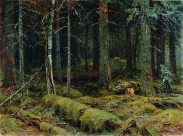 dark Oil Painting - dark forest 1890 classical landscape Ivan Ivanovich trees