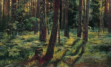 ferns in the forest siverskaya 1883 classical landscape Ivan Ivanovich trees Oil Paintings
