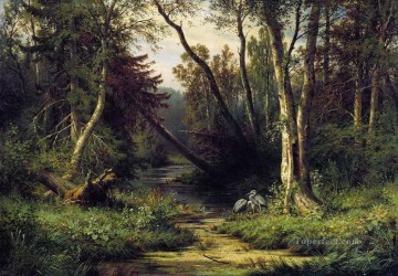 1870 Canvas - forest landscape with herons 1870 Ivan Ivanovich trees