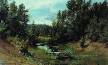 forest stream 1870 classical landscape Ivan Ivanovich trees Oil Paintings