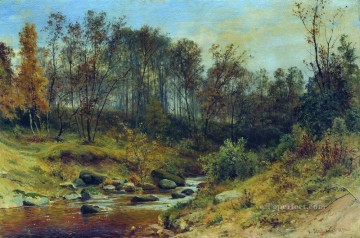 stream Painting - forest stream 1896 classical landscape Ivan Ivanovich woods trees