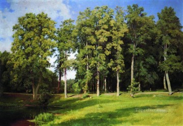 lake pond Painting - grove by the pond preobrazhenskoye 1896 classical landscape Ivan Ivanovich trees