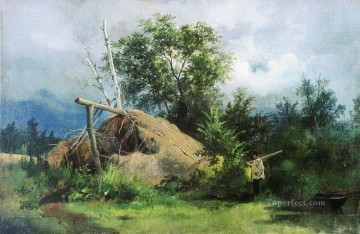 hovel 1861 classical landscape Ivan Ivanovich trees Oil Paintings