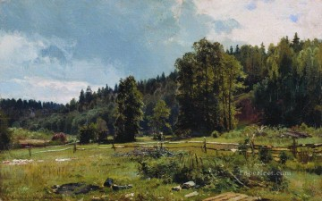 landscape Painting - meadow at the forest edge siverskaya 1887 classical landscape Ivan Ivanovich trees