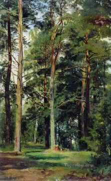 meadow with pine trees classical landscape Ivan Ivanovich woods Oil Paintings