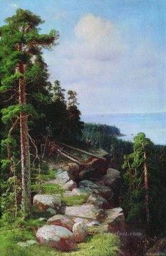 over the embankment 1887 classical landscape Ivan Ivanovich trees Oil Paintings