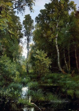 lake pond Painting - overgrown pond at the edge of the forest siverskaya 1883 classical landscape Ivan Ivanovich trees