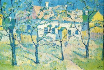spring garden in blossom 1904 Kazimir Malevich trees Oil Paintings