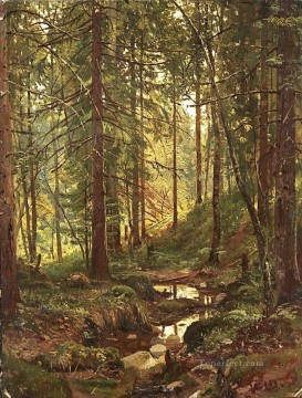 stream Painting - stream by a forest slope 1880 classical landscape Ivan Ivanovich trees