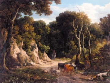 landscape Painting - A WOODED LANDSCAPE WITH CATTLE AND SHEEP ON A PATH WITH A HERDSMAN Philip Reinagle woods landscape