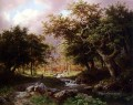A Wooded Landscape With Figures Along A Stream Dutch Barend Cornelis Koekkoek woods forest