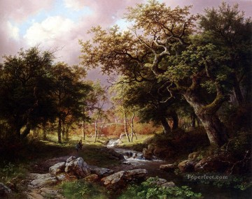 Woods Painting - A Wooded Landscape With Figures Along A Stream Dutch Barend Cornelis Koekkoek woods forest