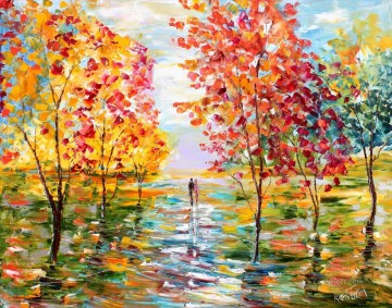Autumn Romance Landsape woods forest Oil Paintings