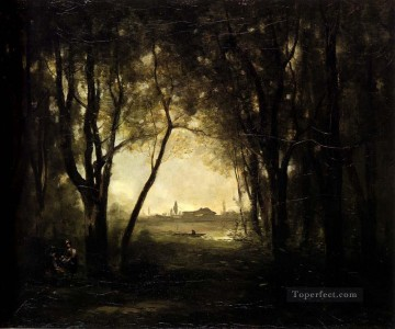 Woods Painting - Camille Landscape with A Lake Jean Baptiste Camille Corot woods forest