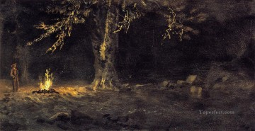 Woods Painting - Campfire Yosemite Valley Albert Bierstadt woods forest