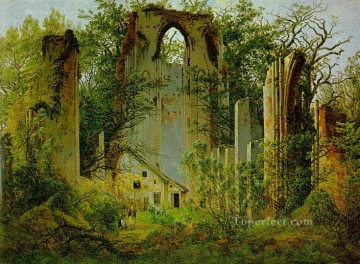 Woods Painting - Eldena Ruin CDF Romantic landscape Caspar David Friedrich woods forest