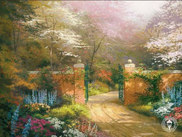 Woods Painting - Gate of New Beginnings Thomas Kinkade woods forest