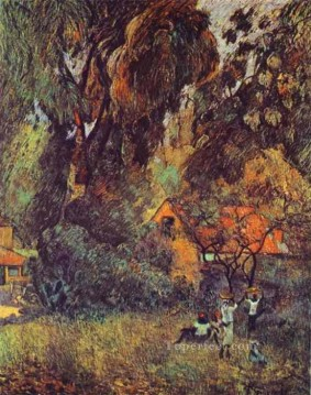 Woods Painting - Huts under Trees Post Impressionism Primitivism Paul Gauguin woods forest