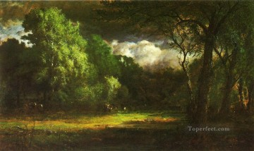 Inness Canvas - Medfield Massachusetts landscape Tonalist George Inness woods forest