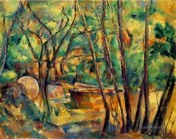 Woods Painting - Millstone and Cistern Under Trees Paul Cezanne woods forest