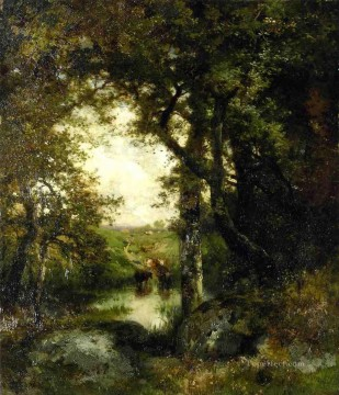 Woods Painting - Pool in the Forest Long Island landscape Thomas Moran