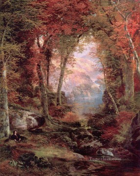 Woods Painting - The Autumnal Woods Under the Trees landscape Thomas Moran