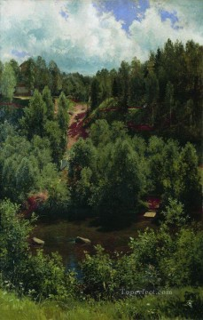 Etude Art - after the rain etude of the forest 1881 classical landscape Ivan Ivanovich trees