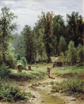bee families in the forest 1876 classical landscape Ivan Ivanovich trees Oil Paintings