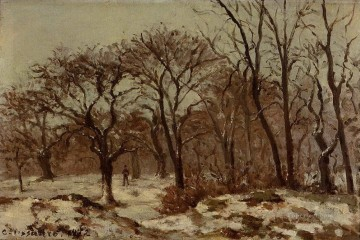 Woods Painting - chestnut orchard in winter 1872 Camille Pissarro woods forest