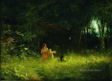 children in the forest 1887 Ivan Kramskoi woods trees landscape Oil Paintings