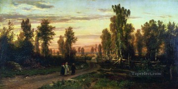 landscape Painting - evening 1871 classical landscape Ivan Ivanovich trees