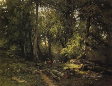 herd in the forest 1864 classical landscape Ivan Ivanovich trees Oil Paintings
