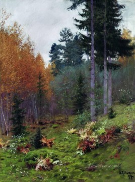 autumn Painting - in the forest at autumn 1894 Isaac Levitan woods trees landscape