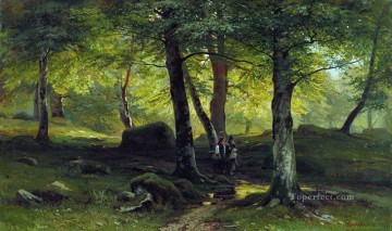 in the grove 1865 classical landscape Ivan Ivanovich trees Oil Paintings