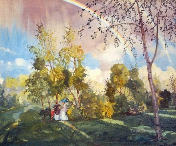 landscape with a rainbow 1919 Konstantin Somov woods trees Oil Paintings
