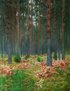 landscape Painting - landscape with ferns Isaac Levitan woods trees landscape