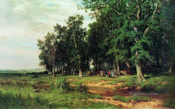 landscape Painting - mowing in the oak grove 1874 classical landscape Ivan Ivanovich trees