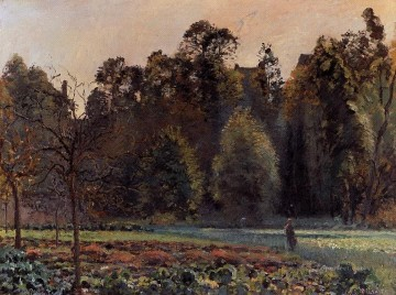 Bag Painting - the cabbage field pontoise 1873 Camille Pissarro woods forest