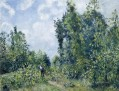 wanderer near the wood 1887 Camille Pissarro woods forest