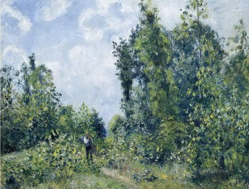 Woods Painting - wanderer near the wood 1887 Camille Pissarro woods forest