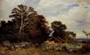 Woods Painting - A Surrey Woodland landscape Benjamin Williams Leader woods forest