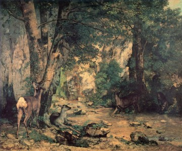 Woods Painting - A Thicket of Deer at the Stream of Plaisir Fountaine Realism Gustave Courbet woods forest