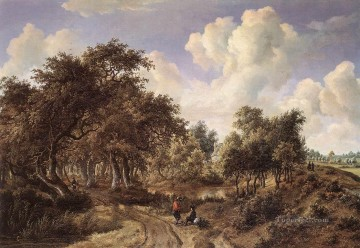 A Wooded Landscape 1660 Meindert Hobbema woods forest Oil Paintings