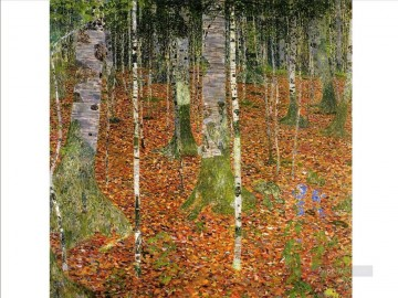 Woods Painting - Farmhouse with Birch Trees Gustav Klimt woods forest