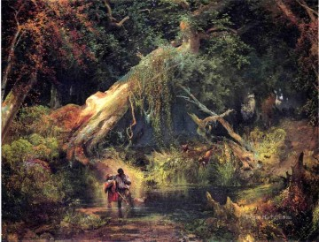 Woods Painting - Slave Hunt Dismal Swamp Virginia landscape Thomas Moran woods forest