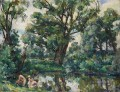 WILLOWS LANDSCAPE WITH HORSE Petr Petrovich Konchalovsky woods trees