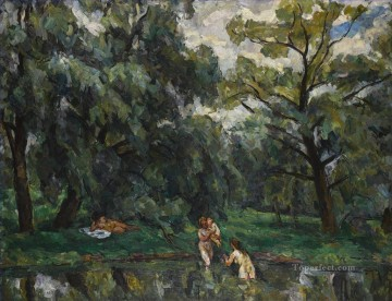 women Painting - WOMEN BATHING UNDER THE WILLOWS Petr Petrovich Konchalovsky woods trees landscape