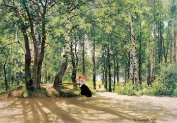 landscape Painting - at the summer cottage 1894 classical landscape Ivan Ivanovich trees
