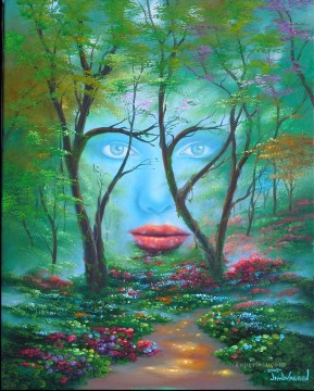 Woods Painting - fantasy face in woods