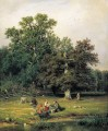 gathering mushrooms 1870 classical landscape Ivan Ivanovich trees